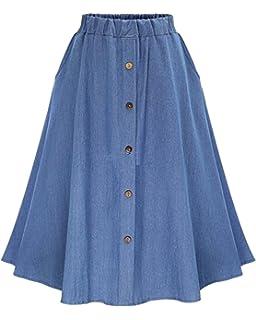 fa4d4eada Mujer Midi Falda De Mezclilla con Botones Faldas Vaqueras Plisada Azul Claro  Freesize