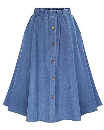 b8acf759f5f3 Moollyfox Femme Jupe Jean Mi-Long Rétro Élégante Bouton Jupe Évasée Plissée  Bleu Clair Freesize  Amazon.fr  Vêtements et accessoires