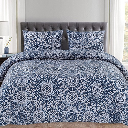 Cheap Sweet Home Collection Duvet Cover 3 Piece Set Unique Stylish Oasis Blue Mandala Pattern, Full/Queen
