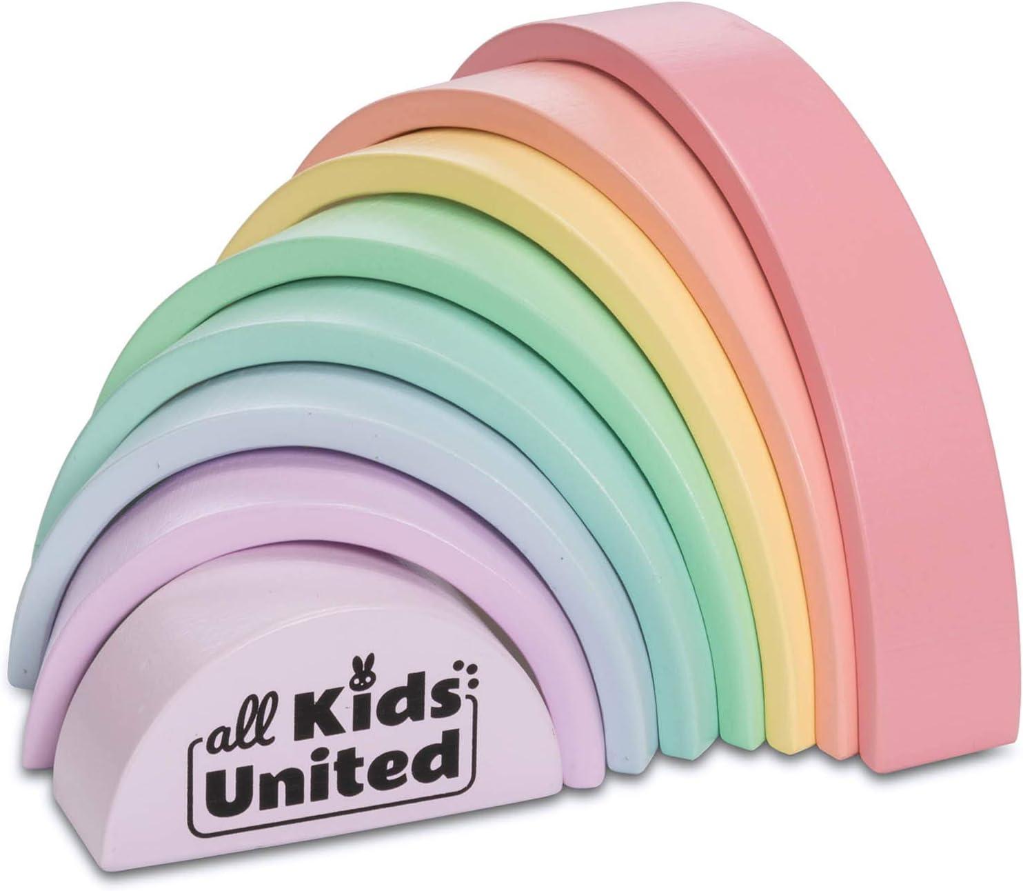 Kinder-Baby-Spielzeug aus Holz Stacking Ringturm Lernspielzeug Regenbogen-S P⑤