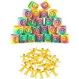 LOAVER 24pcs Rainbow Smiley Springs and 20pcs Yellow Strechy Smiley Men Party Bags Fillers for Kids