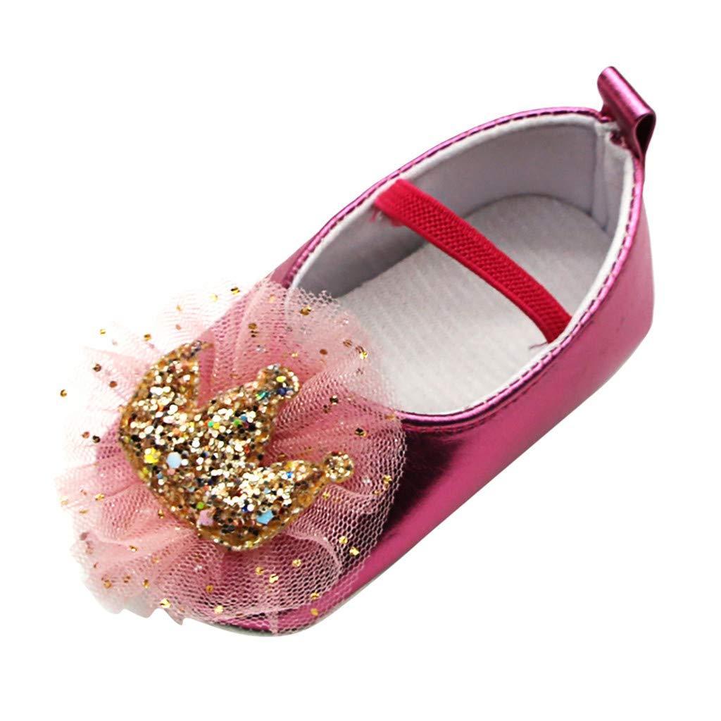 B/éb/é Fille Chaussures 6mois 12mois 18mois Ballerines Dentelle Couronne Bapt/ême C/ér/émonie Anniversaire Bambin bebe Semelle Souple Anti-d/érapant Princesse Chaussures