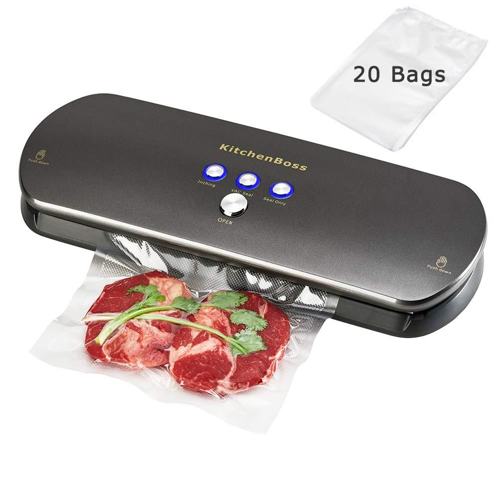 KitchenBoss Envasadora de alimentos al vacío, Sistema de Sellado Automático por Vacío, con Kit