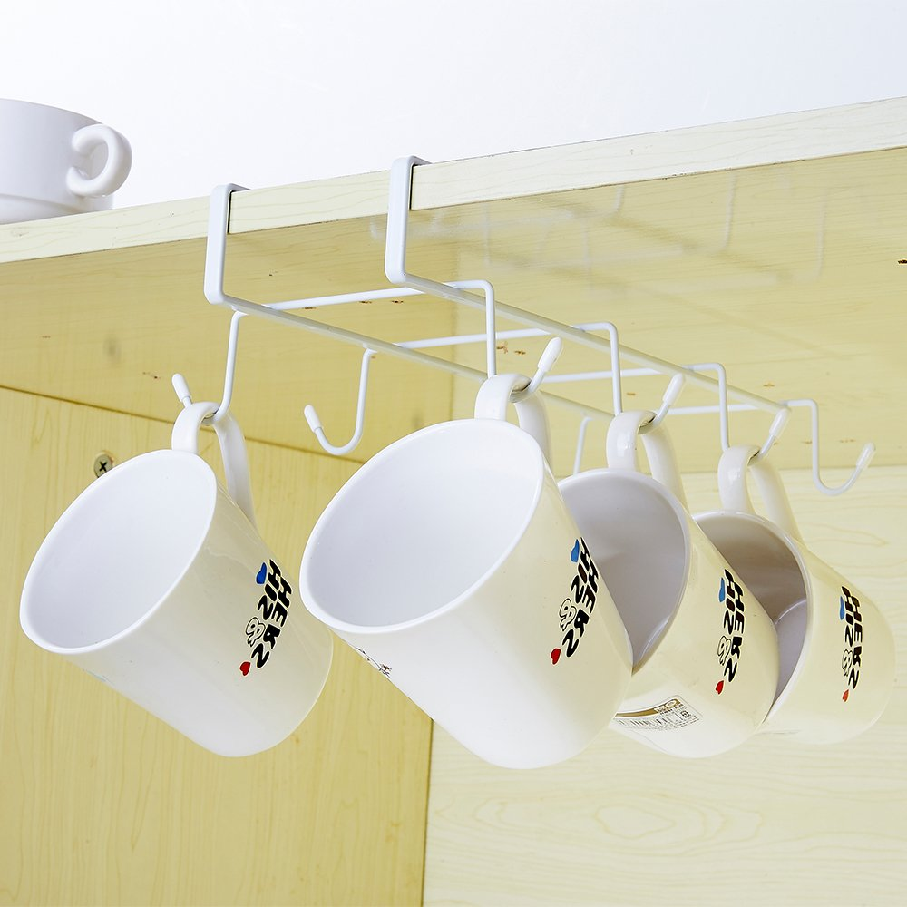 Hotbestus 8 Hook Mug Holder Under Shelf Mug Hooks Mug Rack Hanger Coffee Cup Holder Drying Rack for Kitchen Hanging Organizer Rack-Cabinet Hanging Tie Belt Organizer Rack (Style 2)