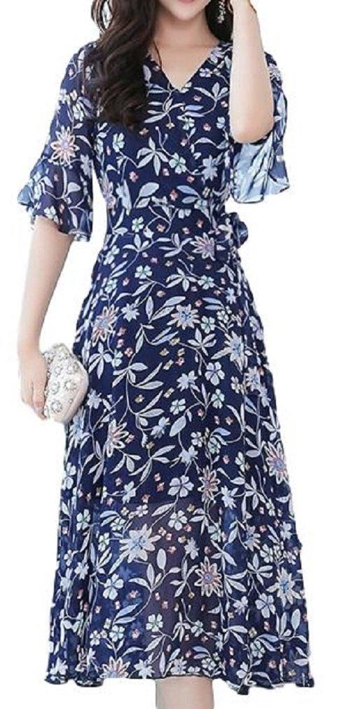 [Nana_Collection(ナナコレクション)] 春 夏 シフォン ワンピース Vネック ロング丈 花柄 女性 フリル袖 B07CNLXDKT XL|ネイビー ネイビー XL