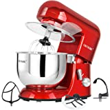 CHEFTRONIC Stand Mixer tilt-head 650W/120V Electric kitchen Mixer with 5.5QT Stainless Bowl, Wire whip, Dough hook, Flat beater, Flex edge beater splash guard