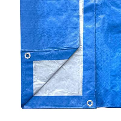 10\' x 12\' Blue and Silver Reversible Multi-Purpose Water Resistant Poly Tarp Cover for Tents and Weather Protection [5Bkhe2005924]