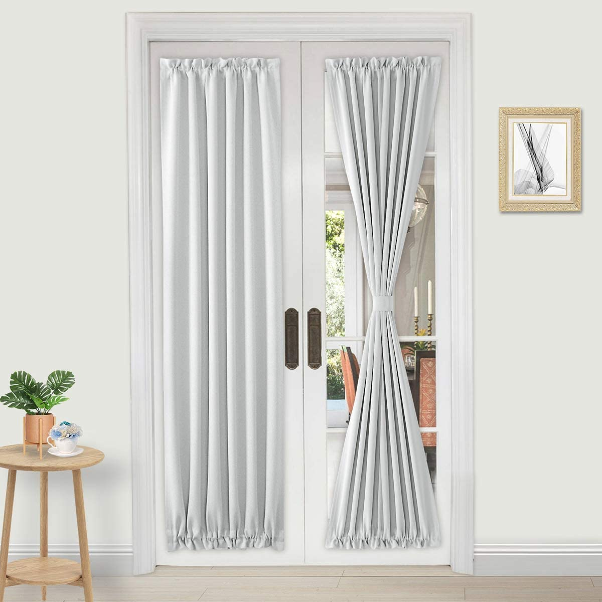 dwcn french door curtains rod pocket thermal blackout curtain for doors with glass window kitchen and patio doors for privacy 25 x 72 inches long
