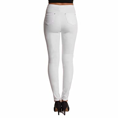 9a4fac0e33aca New Ladies Ripped Knee Skinny Jeans Womens High Waisted Rip Cut Jeggings  Look