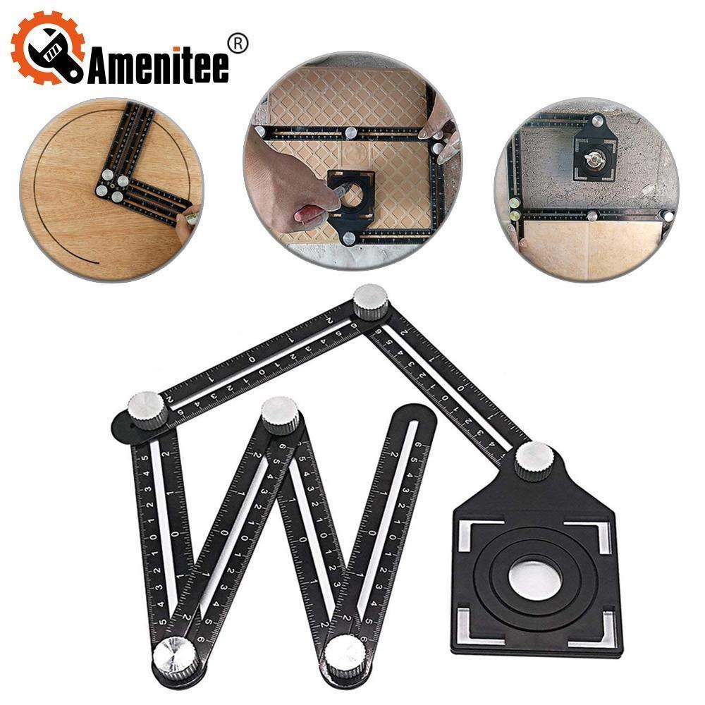 Amenitee Six-Sided Aluminum Alloy Angle Measuring Tool - Universal Angularizer Ruler - Full Metal Multi Angle Measuring Tool-Upgraded Aluminum Alloy Ruler (six sides)