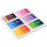 Craft Rainbow Finger Ink Pads Set of 6,Craft Ink Pads for Kids DIY Multicolor Craft Stamp Pads for Kids Washable 24…