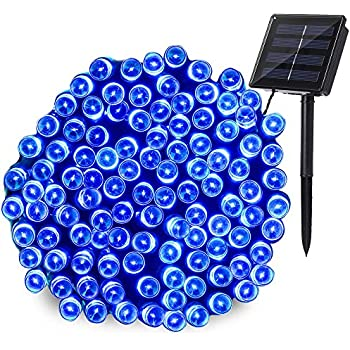 Qedertek 200 LED Solar Christmas Lights, 72ft Fairy String Lights Decorative Lighting for Home, Lawn, Garden, Wedding, Patio, Party and Holiday Decorations (Blue)