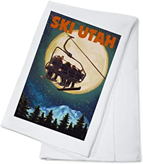 product image for Ski Utah - Ski Lift and Full Moon (100% Cotton Kitchen Towel)