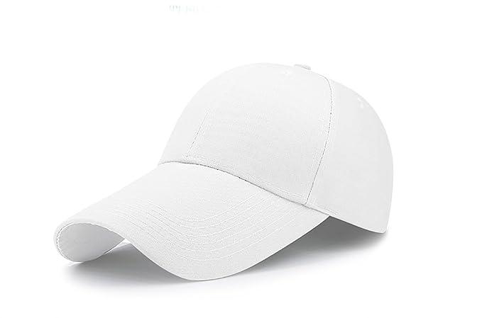 Scott Edward Unisex Adult Cotton Extra Long Bill Baseball Cap Solid Color  Adjustable (white) fdd57c9ccc45