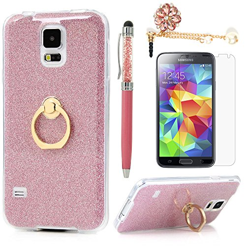 Badalink Galaxy S5 Case 360 Degree Rotating Ring Holder Kickstand Shockproof Drop Protection TPU Flexible Bumper with Detachable Shiny Shell Slim-Fit Protective Cover for Samsung Galaxy S5 - Hot Pink