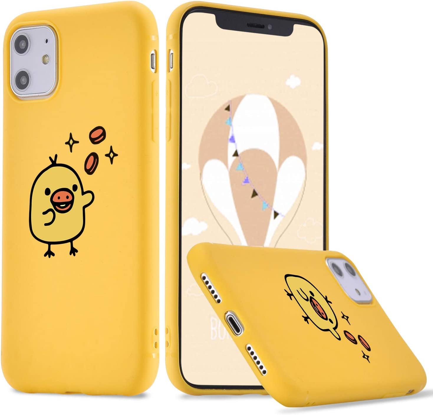 LuGeKe Cartoon Birdie Phone Case for iPhoneXR,Cute Birdie Patterned Case Cover,HardPCBackwithTPUBumper Anti-Stratch Bumper Protective Cute Girls Phonecase(Colorful (Yellow Birdie)