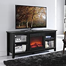 """Walker Edison Essential 58"""" Wood TV Stand with Fireplace in Black"""
