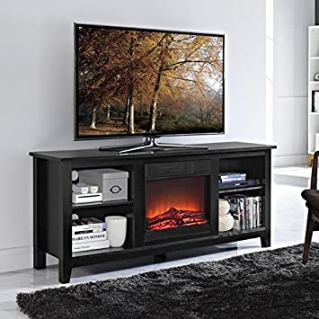 Amazon.com: Walker Edison W58FP18BL Fireplace TV Stand , Black ...