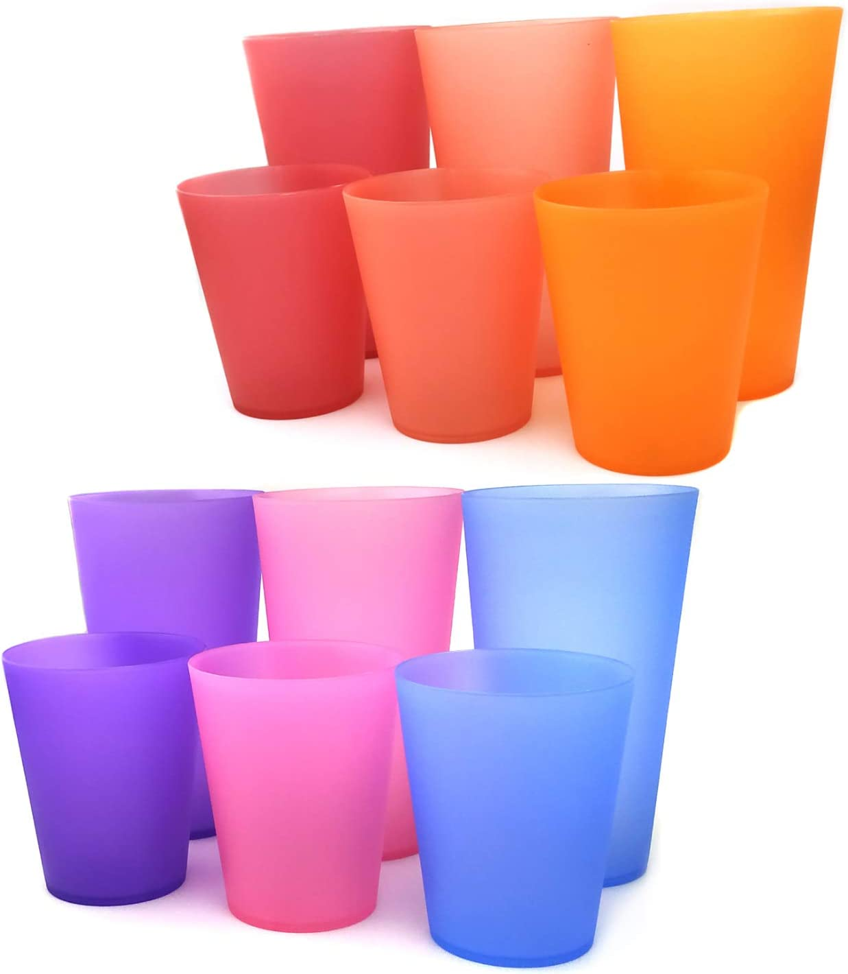 32-ounce and 18-ounce Plastic Tumblers/Drinking Glasses/Party Cups/Iced Tea Glasses Set of 12,6 Assorted Colors| Unbreakable, Dishwasher Safe, BPA Free