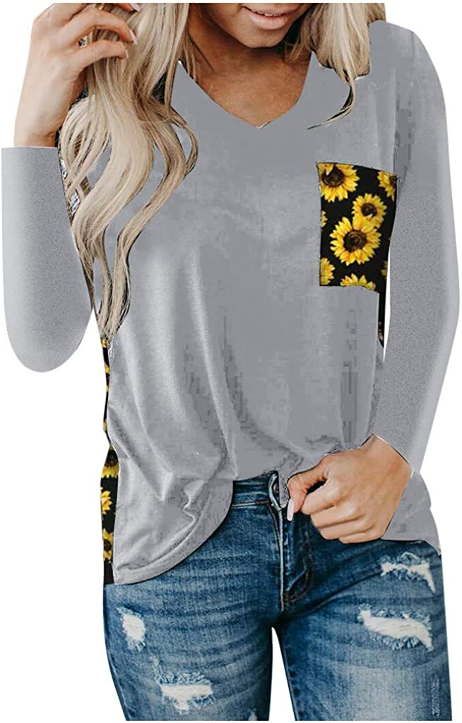 Portazai Tops for Women Summer,V-Neck Top Blouses Short Sleeve Pullover Shirts Casual T-Shirt with Leopard Print Pocket