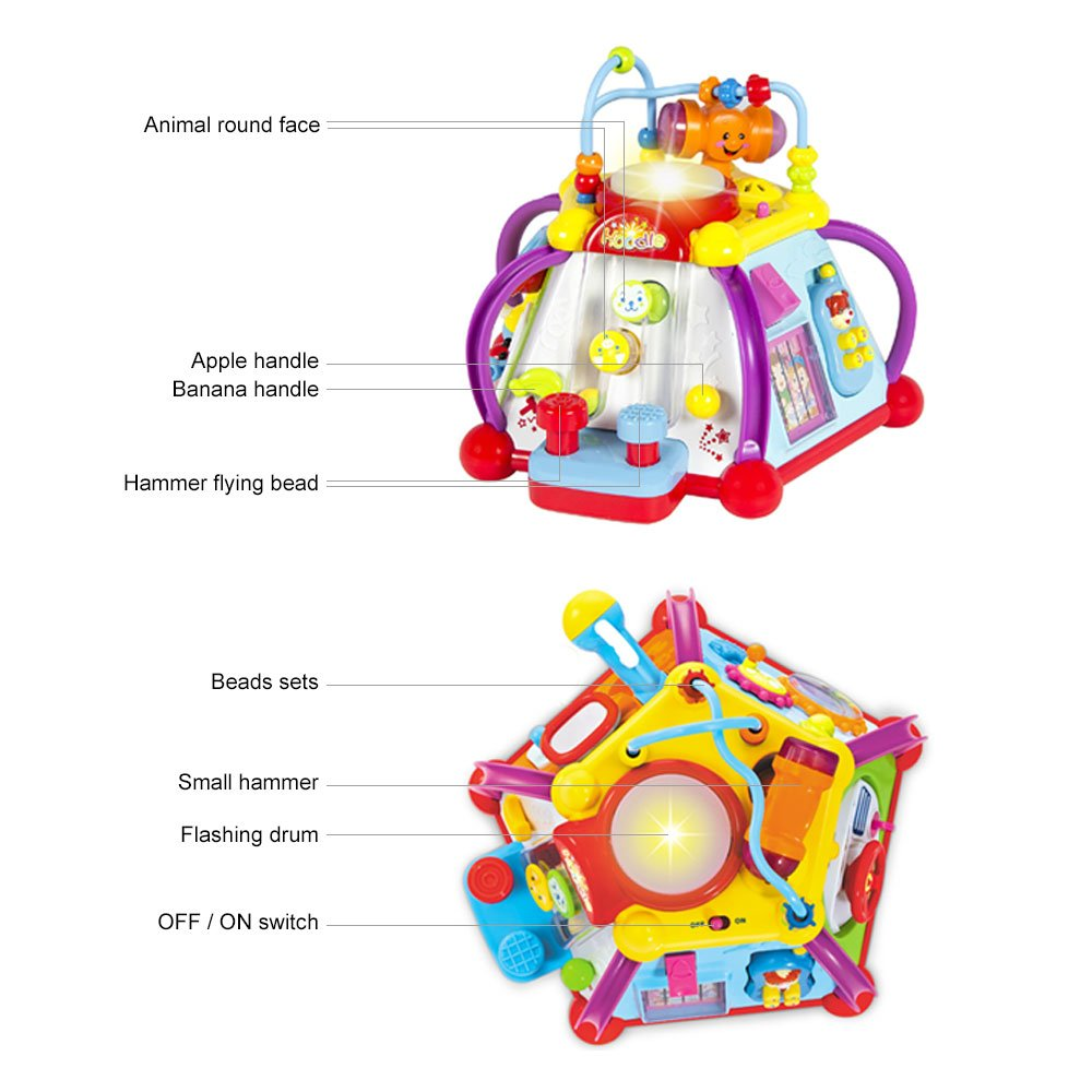 Woby Musical Activity Cube Toy Educational Game Play Center Toy with Lights and Sounds Huile