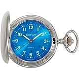 Gotham Men's Silver-Tone Blue Dial Covered Quartz Pocket Watch # GWC15042SBL