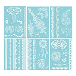 Temporary Tattoo, Dearbeauty White Henna Tattoo Sticker Kit for Women & Girls, 6 Sheets 100 New Designs
