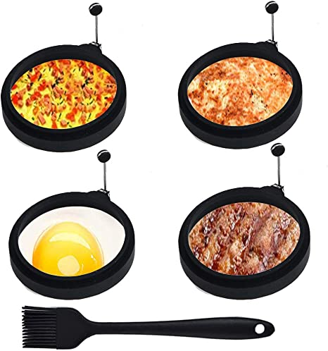 10CM Silicone Egg Pancake Rings Non Stick Egg Mould Silicone Round Egg Rings Fried Egg Cooking Rings Egg Shaper Set for Frying Perfect Fried Eggs 4PCS Silicone Fried Egg Moulds
