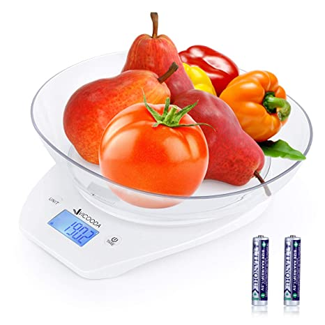 49ebdb16349a Digital Kitchen Scale VICOODA 3 Modes Food Scale with Removable Bowl,  5kg/11 lbs /5000ml Precision Kitchen Scale with Blue Back-light LCD  Display, ...
