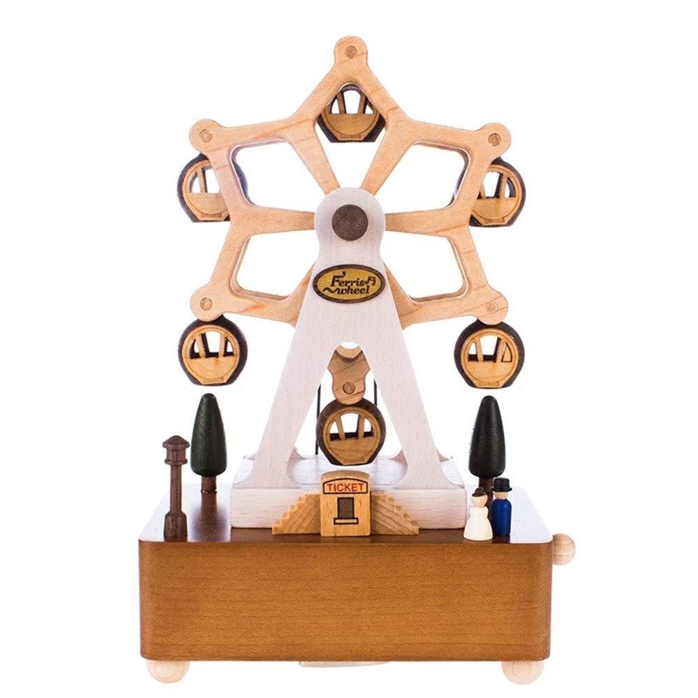Envio gratis en todas las ordenes LH's stores Caja Musical Creative Ferris Wheel Wheel Wheel Music Box, Caja de música giratoria de Madera Día de San Valentín Regalo de cumpleaños Matrimonio Enviar Novio Novia Cajas de Musica  suministro directo de los fabricantes