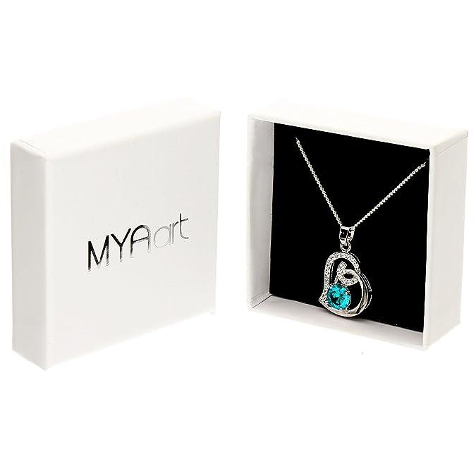 da8c4c808701 MYA art Damen Kette Halskette Herzketten 925 Sterling Silber Infinity Herz  Anhänger mit Zirkonia und Swarovski Elements am Rand Weiß Blau Türkis ...