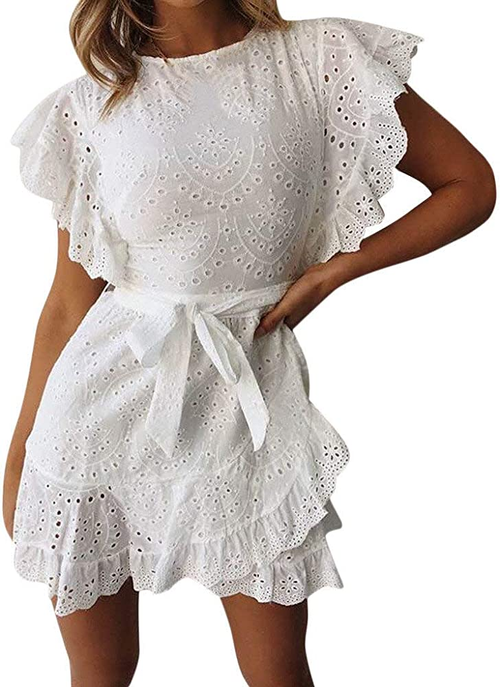 Vestidos Cortos Mujer Verano Casual Vestido de Encaje Manga Corta Vestido de Noche Falda de Verano para Mujer Escote en O Vestido de Fiesta Cortos para Mujer Blanco ...