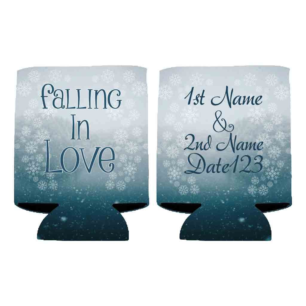 Custom Winter Wedding Can Cooler - Falling In Love (100)