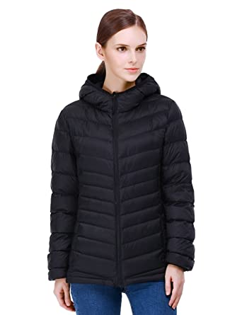 Puredown Women's Lightweight Packable Hooded Goose Down Jacket at ...