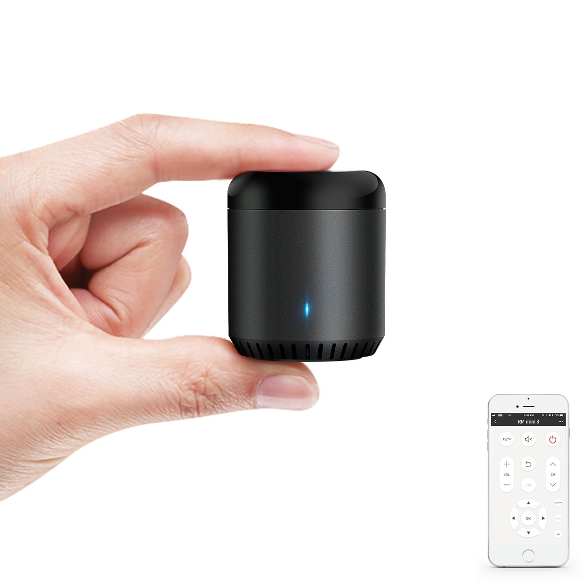 BroadLink IR Control Hub Works with Amazon Alexa, RM Mini3 Smart Home Wi-Fi Enabled Infrared Universal Remote Control, One for All Control ( Black Bean RMMINI3-EN )