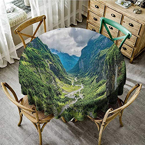 (Summer Table Cloths Lake House Decor Collection,Valley Mountain Tree Mist Waterfall Canyon Alpine Landscape Mother Nature Theme,Green Blue White D 70