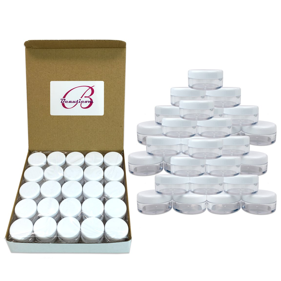 (2000 Pcs) Beauticom® 5G/5ML High Quality Round Clear Jars with White Lids for Acrylic Powder, Rhinestones, Charms and Other Nail Accessories - BPA Free