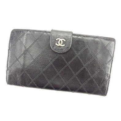 40df6cdce1df (シャネル) Chanel がま口財布 長財布 ブラック ダブルステッチ レディース メンズ 可 中古 T6160