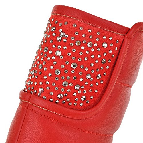 Solid Womens Low Rhinestones and Round AmoonyFashion 7 Red Glitter Material Soft US M Boots Heels with PU B Closed 5 Toe z7dqIBx
