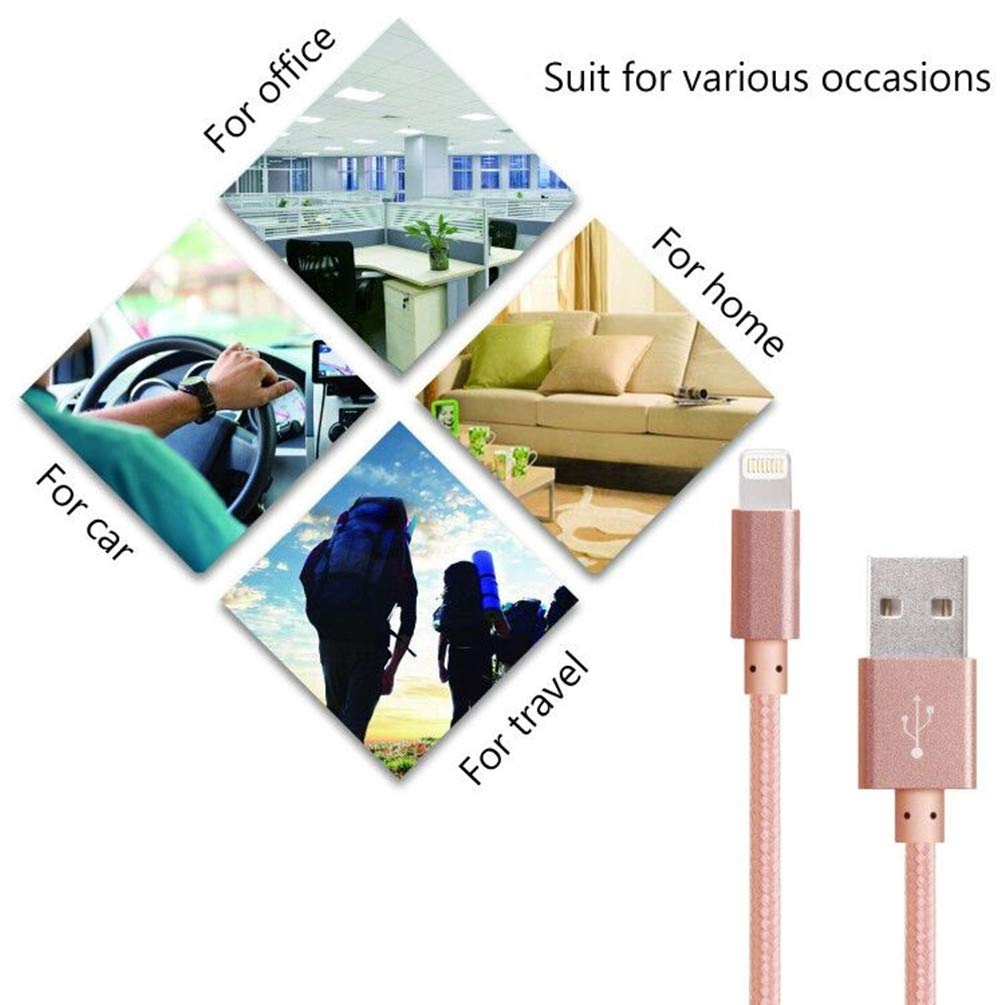 3 Pack 6FT Nylon Braided Fast Charging USB Power Cord Compatible with with Phone Xs Max XR X//8//8 Plus//7//7 Plus//6//6 Plus//Pad and More White Pink Blue Phone Charger Cable