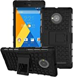 Heartly Flip Kick Stand Spider Hard Dual Rugged Armor Hybrid Bumper Back Case Cover For YU Yuphoria YU5010 5010A - Rugged Black