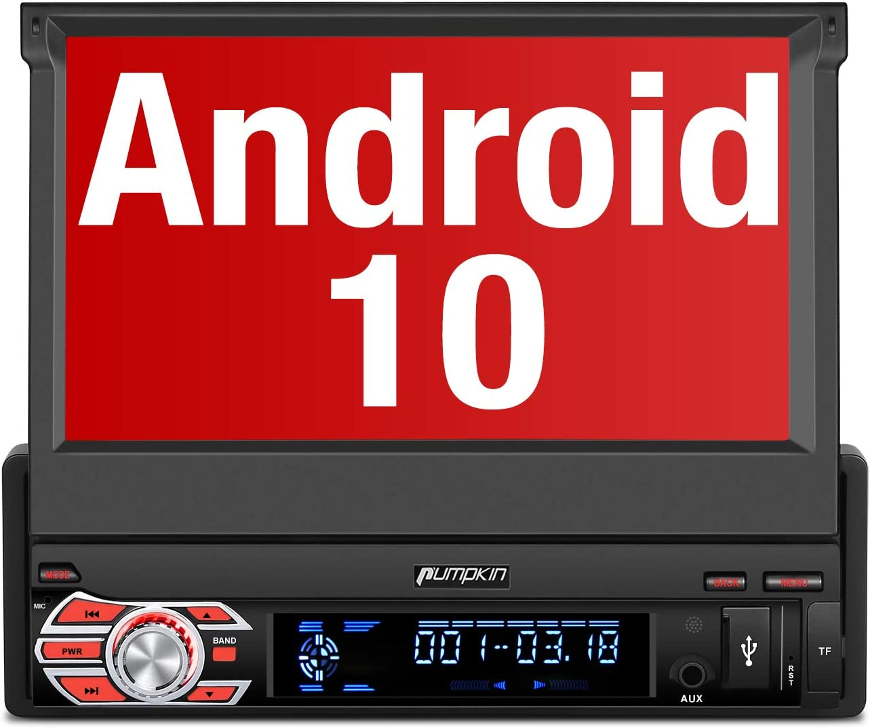 "PUMPKIN 【 Android 10 】 1 DIN Radio con GPS Navegador, Autoradio Pantalla Android soporte Bluetooth, Control Volante, WiFi, USB, SD, Subwoofer, Mirror-Link, con 7"" Pantalla Táctil"