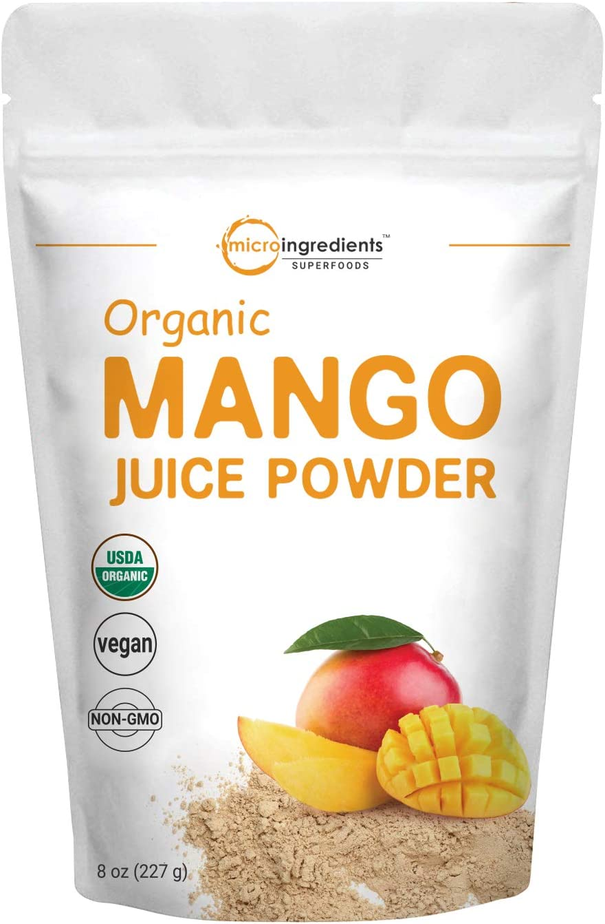 Micro Ingredients Organic Mango Juice Powder, 8 Ounce, Rich in Immune Vitamin C for Immune System Support, and Great Flavor for Drinks, Smoothie and Beverages, Non-GMO and Vegan Friendly