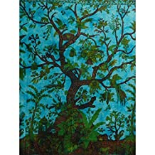 Beadspread Tree of Life Coverlet Turquoise Blue Oriental India Decor Cotton W... by Handicrunch