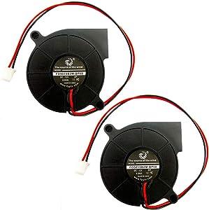 FZVAN 2Packs 50mm 12V Turbine Snail 50X50X15mm Mini Blower Centrifuge Radiators Fan for 3D Printer