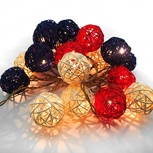 Emlyn Rattan Ball LED String Lights 14.8 Feet 20 LED Night Lights for Wedding Bedroom Party Decorations by Emlyn (Image #6)