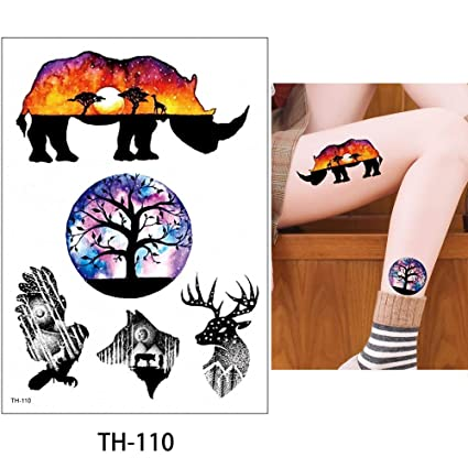 85482f3e3 Image Unavailable. Image not available for. Color: s13 1 Sheet Watercolor  Animal Temporary Tattoo Fox Wolf Decal Body Sticker Water Transfer Tattoo  Paper