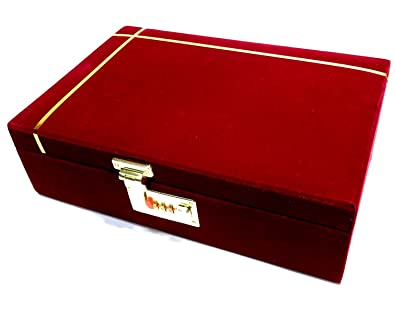 Girija Maroon Velvet Large Jewelry Storage Box