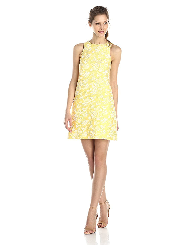 4.collective Women's Ravena Jacquard Sleeveless Shift Dress Vibrant Yellow 6 [並行輸入品] B075CK1MXW