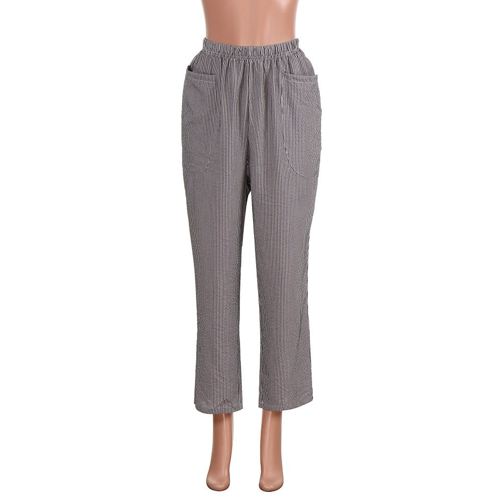 5221ce855 Sunenjoy Pantalon Rayures Taille Haute Femme Harem Pantacourt Fluide ...